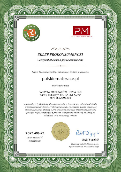 Certyfikat Prokonsumencki dla PolskieMaterace.pl